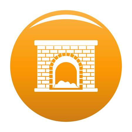 Brick fireplace icon. Simple illustration of brick fireplace vector icon for any design orange Stock Photo