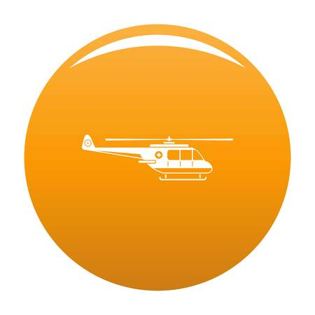 Helicopter icon. Simple illustration of helicopter vector icon for any design orange