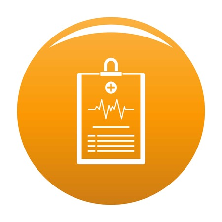 Cardiogram on tablet icon. Simple illustration of cardiogram on tablet vector icon for any design orange Illustration
