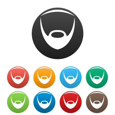 Oval beard icon. Simple illustration of oval beard vector icons set color isolated on white
