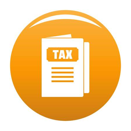 Tax icon. Simple illustration of tax vector icon for any design orange