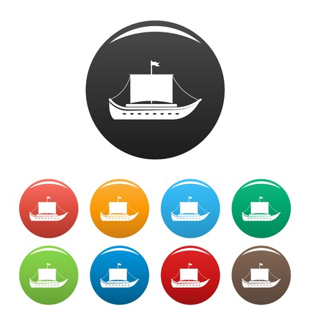 Ship ancient icon. Simple illustration of ship ancient vector icons set color isolated on white