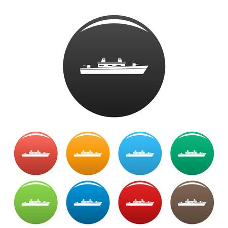 Ship military icon. Simple illustration of ship military vector icons set color isolated on white