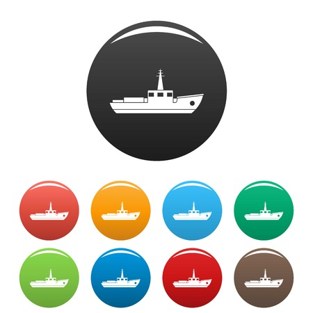 Ship fishing icon. Simple illustration of ship fishing vector icons set color isolated on white