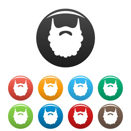 Fluffy beard icon. Simple illustration of fluffy beard vector icons set color isolated on white