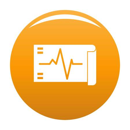 Electrocardiogram icon. Simple illustration of electrocardiogram vector icon for any design orange