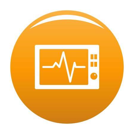 Ekg icon. Simple illustration of ekg vector icon for any design orange
