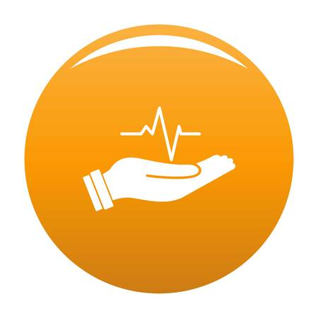 Heartbeat icon. Simple illustration of heartbeat vector icon for any design orange