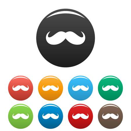 Germany mustache icon. Simple illustration of germany mustache vector icons set color isolated on white