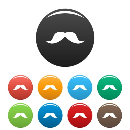Norway mustache icon. Simple illustration of norway mustache vector icons set color isolated on white