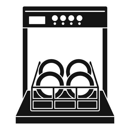 Open dishwasher icon. Simple illustration of open dishwasher vector icon for web design isolated on white background Vectores