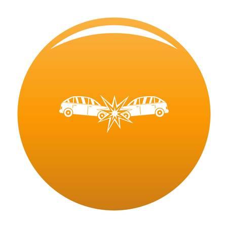 Head collision icon. Simple illustration of head collision vector icon for any design orange