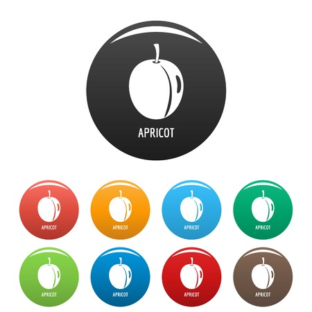 Apricot icon. Simple illustration of apricot vector icons set color isolated on white 向量圖像