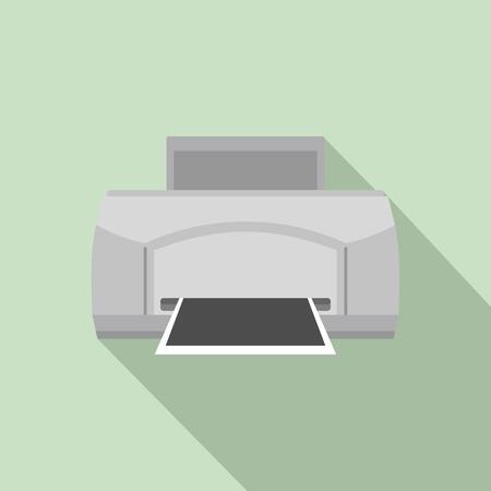 Black paper printer icon. Flat illustration of black paper printer vector icon for web design