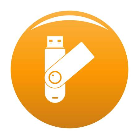 Usb device icon. Simple illustration of usb device vector icon for any design orange