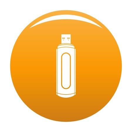 Computer flash drive icon. Simple illustration of computer flash drive vector icon for any design orange Illustration