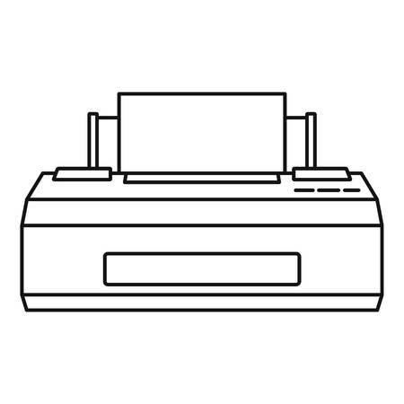 Old printer icon. Outline illustration of old printer vector icon for web design isolated on white background