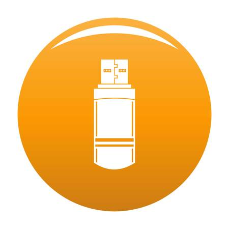 Small flash drive icon. Simple illustration of small flash drive vector icon for any design orange