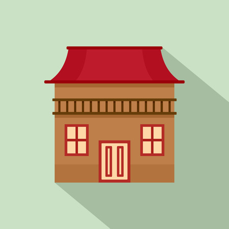 Wood house icon. Flat illustration of wood house vector icon for web design