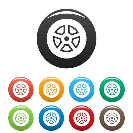 Wheel icon. Simple illustration of wheel vector icons set color isolated on white Vettoriali