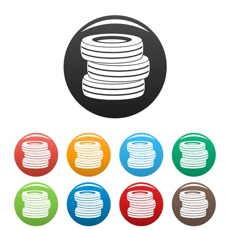 Tire fitting icon. Simple illustration of tire fitting vector icons set color isolated on white