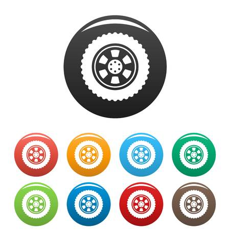 One tire icon. Simple illustration of one tire vector icons set color isolated on white Illustration