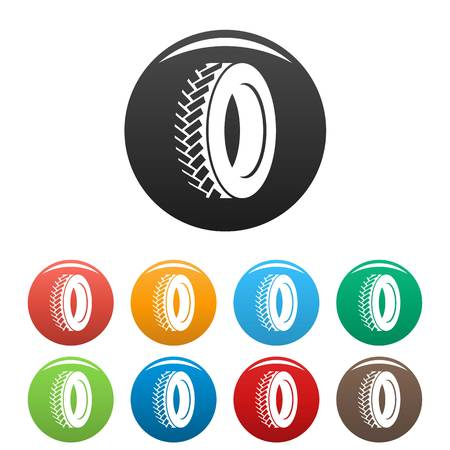 One tyre icon. Simple illustration of one tyre vector icons set color isolated on white