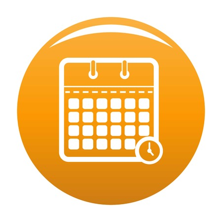 Calendar time icon. Simple illustration of calendar time vector icon for any design orange Иллюстрация