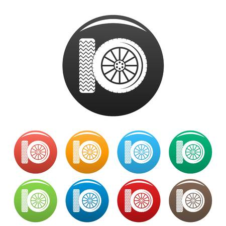 Car tire icon. Simple illustration of car tire vector icons set color isolated on white Illustration
