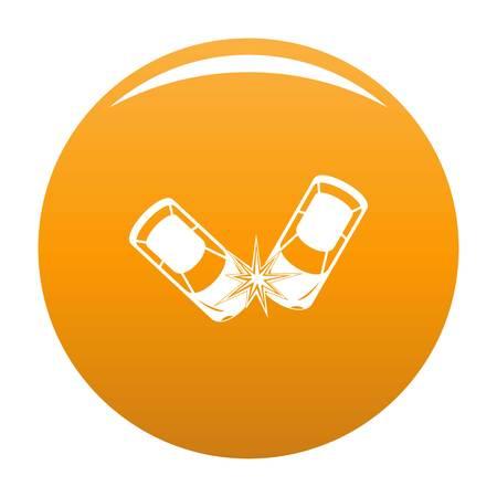 Hard collision icon. Simple illustration of hard collision vector icon for any design orange Illustration