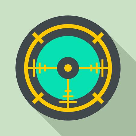 Police aim radar icon. Flat illustration of police aim radar vector icon for web design Illustration