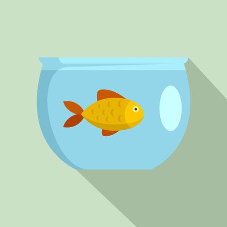 Fish in aquarium icon. Flat illustration of fish in aquarium vector icon for web design