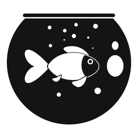 Fish round aquarium icon. Simple illustration of fish round aquarium vector icon for web design isolated on white background Illustration