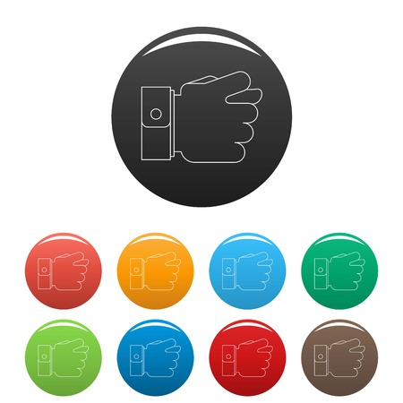 Fig gesture icon. Outline illustration of fig gesture vector icons set color isolated on white