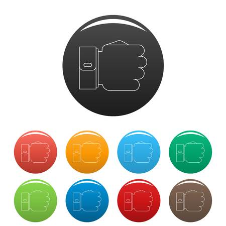 Fist icon. Outline illustration of fist vector icons set color isolated on white