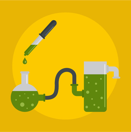 Chemical pots icon. Flat illustration of chemical pots vector icon for web design