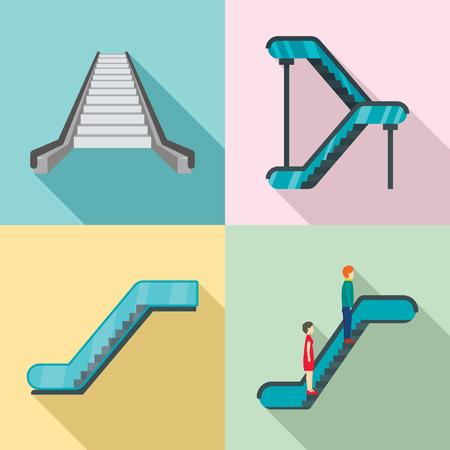 Escalator elevator icons set. Flat illustration of 4 tuk rickshaw Thailand vector icons for web Иллюстрация