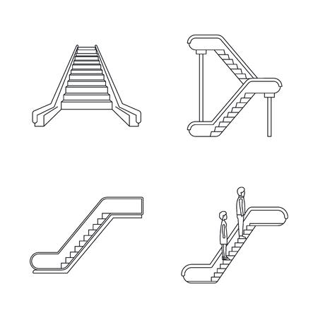 Escalator elevator icons set. Outline illustration of 4 tuk rickshaw Thailand vector icons for web  イラスト・ベクター素材