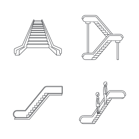 Escalator elevator icons set. Outline illustration of 4 tuk rickshaw Thailand vector icons for web Çizim