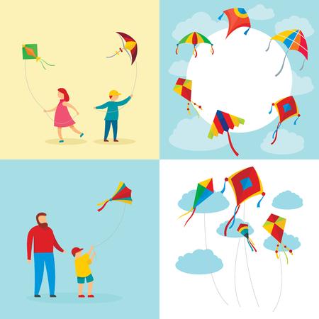 Kite flying festival surf banner concept set. Flat illustration of 4 kite flying festival surf vector banner concepts for web