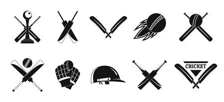 Jeu d'icônes de logo de batte de balle de sport de cricket. Illustration simple de 10 icônes vectorielles de cricket sport ball bat logo pour le web