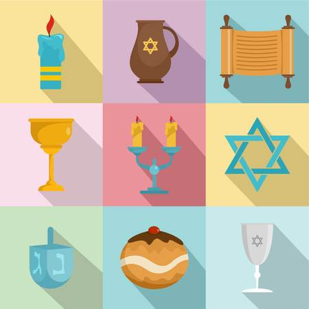 Religious dish icons set. Flat set of 9 religious dish vector icons for web isolated on white background