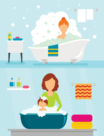 Bathtub bathe woman bulb banner concept set. Flat illustration of 2 Bathtub bathe woman bulb vector banner horizontal concepts for web Ilustração
