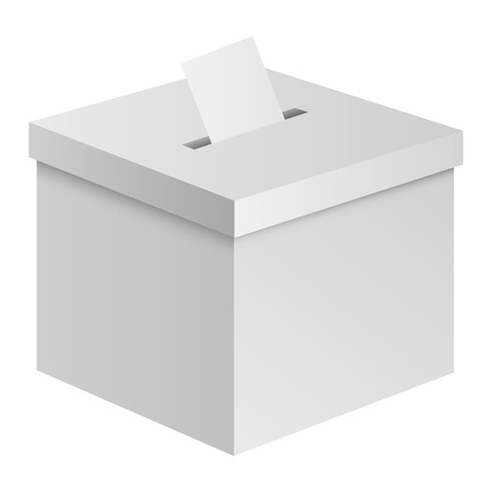 Election box mockup. Realistic illustration of election box vector mockup for web design isolated on white background