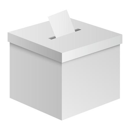 Maquette de la boîte électorale. Illustration réaliste de la maquette de vecteur de boîte électorale pour la conception web isolée sur fond blanc