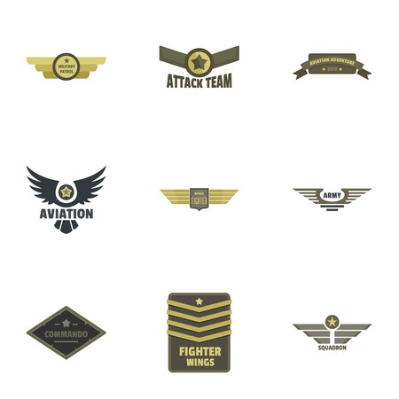 Military badge icons set. Flat set of 9 military badge vector icons for web isolated on white background