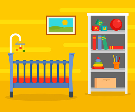 Yellow baby room background. Flat illustration of yellow baby room vector background for web design