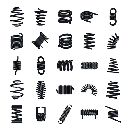 Coil spring cable icons set. Simple illustration of 25 coil spring cable vector icons for web Imagens - 103219827