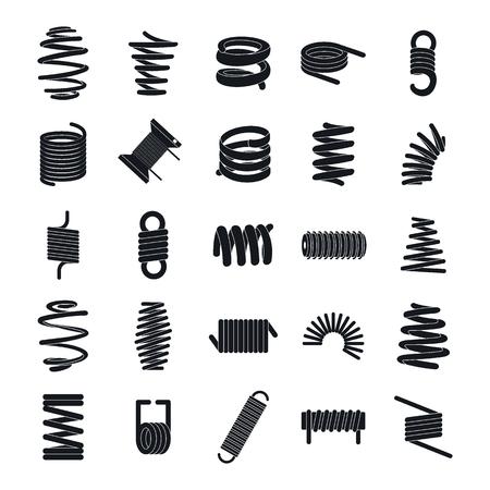 Spiraalveer kabel pictogrammen instellen. Eenvoudige illustratie van 25 vectorpictogrammen van de spiraalveerkabel voor Web Vector Illustratie