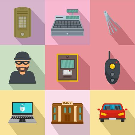 Robbery icons set. Flat set of 9 robbery vector icons for web isolated on white background